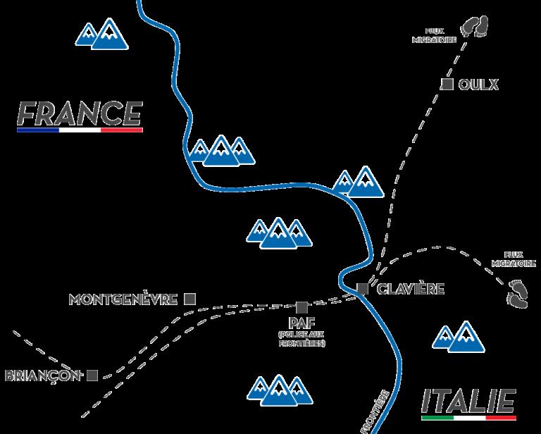 Carte des flux migratoires traversant la frontière franco-italienne dans les hautes-alpes