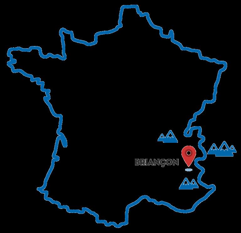 Carte de France situant Briançon